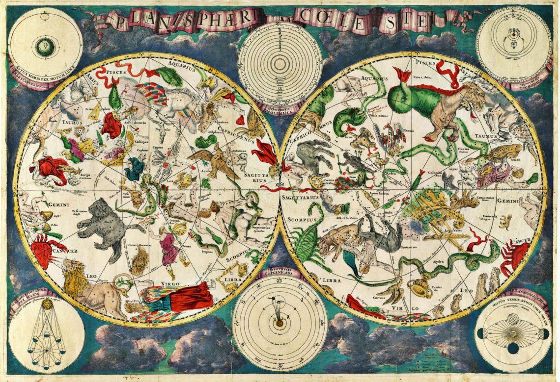 Mapa nieba z XVII wieku, sporządzona przez holenderskiego kartografa Frederika de Wita