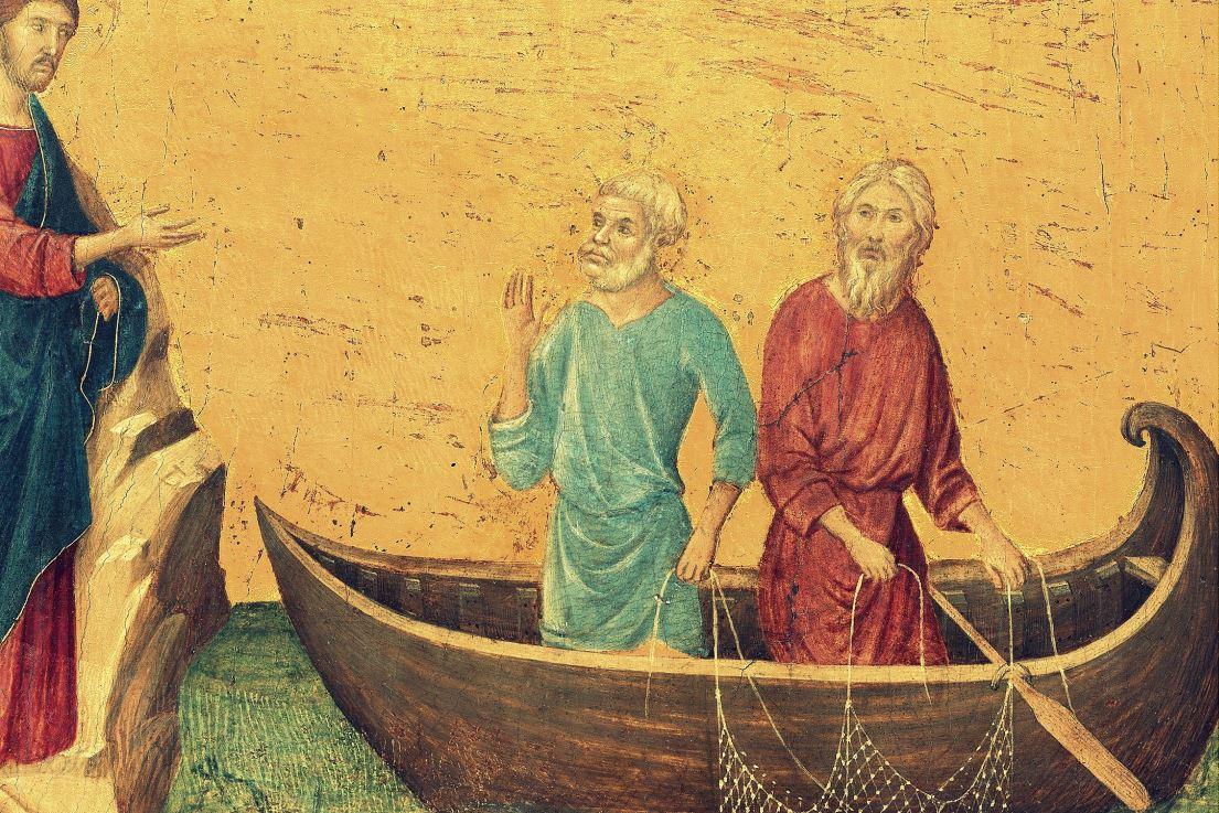 """Duccio di Buoninsegna, """"Powołanie apostołów Piotra i Andrzeja"""""""